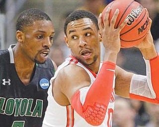 Loyola of Maryland's Shane Walker, left, guards Ohio State's Jared Sullinger during their game Thursday in the second round of the 2012 NCAA basketball championship at Consol Energy Center in Pittsburgh. The Buckeyes bounced the Greyhounds, 78-59, and will face Gonzaga on Saturday.