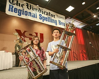 ROBERT  K.  YOSAY  | THE VINDICATOR --..Second and First Place winners Tamsin Day and Max Lee -  The 79th  Regional Spelling Bee sponsored by the Vindicator was held at YSU Kilcawley Center with 65 spellers vieing for the coveted trophy and trip to Washington for the National Spelling Bee s--30-..(AP Photo/The Vindicator, Robert K. Yosay)
