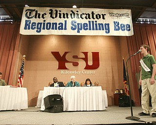 ROBERT  K.  YOSAY  | THE VINDICATOR --.. Jacob Stellers from South Range Middle School -- as he spelled his first word  at The 79th  Regional Spelling Bee sponsored by the Vindicator was held at YSU Kilcawley Center with 65 spellers vieing for the coveted trophy and trip to Washington for the National Spelling Bee s--30-..(AP Photo/The Vindicator, Robert K. Yosay)