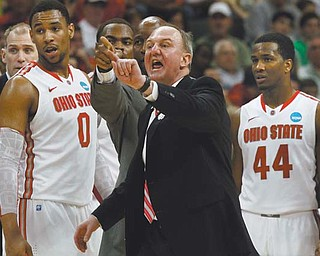 Ohio State coach Thad Matta gives instructions during the second half of an East Regional NCAA tournament thirdround game against Gonzaga in Pittsburgh.