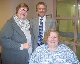 Kathleen Dragoman, left, and Anne V. Harpman, officers for the League of Women Voters of Greater Youngstown, met with former Struthers Mayor Dan Mamula, who spoke at a recent membership meeting. Mamula is the manager of the Mahoning River Corridor Initiative.