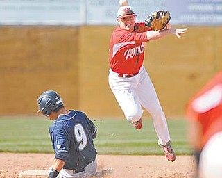 Youngstown State's Padriac Williams throws to first base for the double play after stepping on second base to