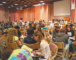 Students from throughout the Mahoning Valley and western Pennsylvania participate in the Youngstown State University English Festival's writing game. Groups of four or five students had to write a parody of one of the seven books they read for the 34th annual festival.