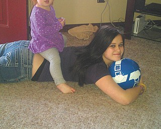 Bailey and her big sister Jordyn are just messing around. They're both from Hubbard.