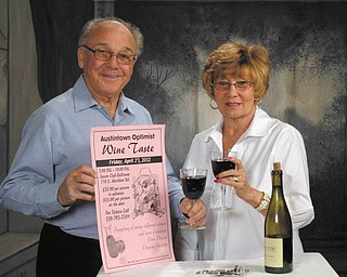 The Austintown Optimist Club is planning its seventh annual wine taste from 7 to 10 p.m. April 27 at the Youngstown Saxon Club, 710 S. Meridian Road, Austintown. A selection of wines and a variety of hot and cold hors d'oeuvres will be available. Club members Richard and Nancy Stoy display a poster advertising the event and listing ticket prices at $35 in advance or at the door. Proceeds will benefit Austintown Optimist Scholarships and Youth programs. For information call 330-793-2384.