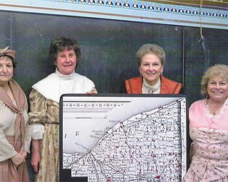 In period costume for the Niles Historical Society are, left to right, Diana Bauman, Anna Mae Cushna, Sally Thomas and Nancy Iezzi-Dom.