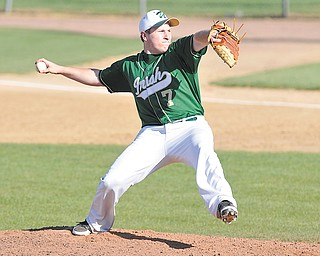 Ursuline ace Harry Finelli pitches to a Liberty batter during a game Wednesday at Cene Park in Struthers. The Irish defeated the Leopards 11-1 in five innings. Finelli pitched four solid innings and gave up one run on five hits. Off the mound he went 3-3 with three RBIs and was a home run short of hitting for the cycle.