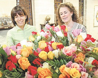 Debbi Grinstein, left, and Rochelle Miller, members of Temple El Emeth in Liberty, admire bundles of colorful and fragrant roses that will adorn Passover tables. Miller, chairwoman of the project for the temple Sisterhood, said the roses fundraiser began as a way to support Israeli entrepreneurs.
