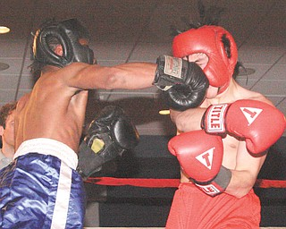 Chris Mitchell of Cardinal Mooney, in the blue trunks, lands a punch to the face of his opponent Jordan Radich of Howland on Monday during their super middleweight bout in the underclass division on the opening night of the 25th annual K.O. Drugs High School Boxing Tournament at the St. Lucy Palermo Banquet Center in Campbell. Radich won by retirement in the second round.