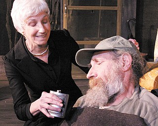 """Molly Galano and Sam Perry play a husband and wife in the family drama """"Buried Child"""" at the Youngstown Playhouse."""
