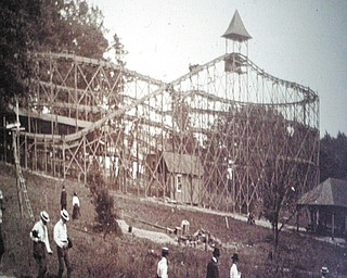 "This first roller coaster at Idora Park on Youngstown's South Side was built in 1902. This photo was taken from a slide show, ""Idora Park : A Historic Look Back,"" by Richard Shale, professor of English at Youngstown State University on Thursday at Park Vista Retirement Community in Youngstown. The coaster was 85 feet wide and 225 feet long."