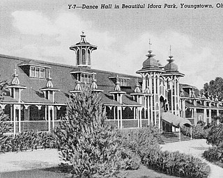 This is the original look of the Idora Park Ballroom, which was constructed in 1910. It was a popular spot for dances and concerts, ranging from big bands to rock 'n' roll groups. The ballroom was destroyed by a fire in 2001. Later that year, the park's signature roller coasters — the Wild Cat and Jack Rabbit — were demolished.