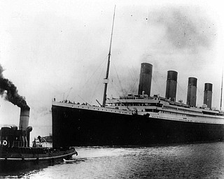 The British liner Titanic sails out of Southampton, England, at the start of its doomed voyage on April 10, 1912. The ship struck an iceberg and sank on April 14-15, killing more than 1,500 of the 2,200 people aboard, many of them because there weren't enough lifeboats. (AP Photo)