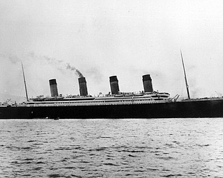FILE--The Titanic leaves on her maiden voyage in this 1912 file photo.  Explorer Robert Ballard, who led the U.S.-French expedition that discovered the remains of the sunken luxury liner ten years ago, is now setting out to explore the wreckage of Titanic's sister ship, the Britannic, in the Aegean Sea. (AP Photo/Frank O. Braynard Collection)