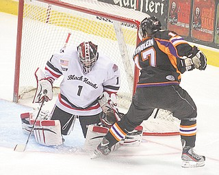 JT Stengien (17), the Youngstown Phantoms' leading scorer, and his teammates are ready for the biggest game in the franchise's three USHL seasons when they face the Cedar Rapids RoughRiders in Game 1 of the USHL Clark Cup Eastern Conference playoff s tonight at the Covelli Centre. The two teams have played four times this season, with the Phantoms winning three.