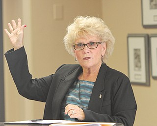 Youngstown State University President Cynthia Anderson talks to students and faculty Monday afternoon at Kilcawley Center in a special question-and-answer session.
