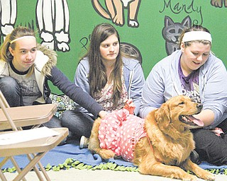 """Mackenzie Kriss of Austintown, left, and Brianna Jukes and Courtney Kensinger, right, both of Hubbard, sit with Nova, a golden retriever, during """"Storytime for Dogs"""" at The Learning Dog training center in Hubbard. The event is part of Hubbard Public Library's outreach and allows dogs in training to socialize with humans and other dogs."""