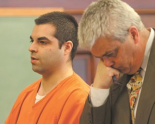 Matthew Shellenberger, left, stands next to his lawyer Mark LaVelle as he waits to be sentenced for attempted rape, gross sexual imposition, kidnapping and robbery. He will spend six years in prison.