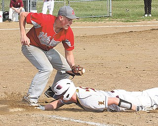 Liberty's Tyler Evans (18) slides under the tag of LaBrae's Bobby Klein during a Division III sectional tournament baseball game Monday in Liberty. The Leopards defeated the Vikings, 4-2, to advance to today's round against Girard.