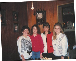 """Patty Warholak Stankovich of Austintown, second from right, sent in this photo of three generations of her family to """"show the importance of women and their moms."""" She says her mom, Gisele Warholak Zupp, left, now deceased, was her best friend and confidante. Patty's daughter, Donna of Girard, is second from left, and Patty's sister, Christine, is at right."""