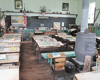 The wood stove was used to heat the school when it was in operation. The museum is packed with items collected by the historical society and Mae Beringer.