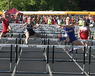 Sage Spotleson Poland leads her heat in the 100 meter hurdles Thursday afternoon in Salem. - Nick Mays l The Vindicator
