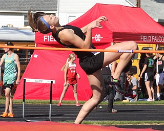 (110) of Salem attempts the high jump Thursday afternoon in Salem. - Nick Mays l The Vindicator