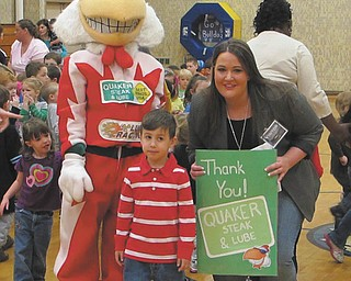 Quaker Steak & Lube in Austintown recently sponsored a Red Solo Cup fundraiser for autism. More than $3,000 was raised and donated to Fairhaven School in Niles. On April 25, the Lube's marketing manager, Danielle Hall, and Coop, its chicken mascot, visited the school and presented the proceeds to school principal Rosanne Morell. Preschool students made a thank-you card for the folks at the Lube, which was given to Hall by her nephew, Angelo, a student at the school.
