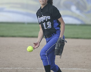 JESSICA M. KANALAS  | THE VINDICATOR..Jackson Milton's #12 Paije Kiraly pitches during the top of the fourth inning against Mathews for the Division 3 Regional Semifinal game at Kent State University.
