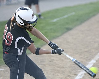JESSICA M. KANALAS  | THE VINDICATOR..Mathews #99 Cheyenne Eggens makes contact to get a hit during the top of the fourth inning against Jackson Milton for the Division 3 Regional Semifinal game at Kent State University.