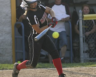 JESSICA M. KANALAS  | THE VINDICATOR..Mathews #15 Tabby Granelly makes contact during the top of the sixth inning against Jackson Milton for the Division 3 Regional Semifinal game at Kent State University.