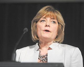 PNC Bank Senior Vice President Karen Abrams, winner of the 2012 Athena Award, speaks at Thursday's event in Boardman.