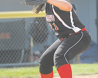 """Third baseman Jacki Rhine is one of the four three-year-starters on the Mathews softball team. The Mustangs, who call themselves """"The Goon Squad"""" because they always have each others' backs, are making their first trip to state on Thursday."""