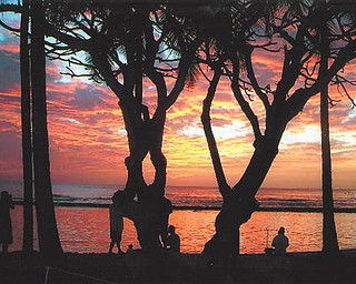 Patricia Krepps of New Middletown took this photo of the sunset at Waikiki Beach in Honolulu, Hawaii.