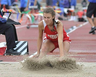 Leah Blaney of Badger makes a jump during the girls long jump Friday afternoon at the State Track Meet in Columbus. She would finish seventh in divison three.
