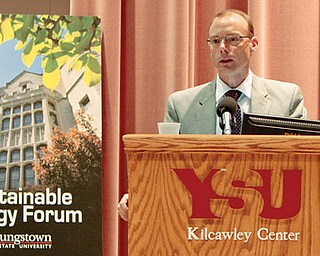 Craig Butler, assistant policy director for energy, agriculture and environment for Gov. John Kasich, spoke about shale development and several other energy issues facing the state as part of Monday's first day of the Sustainable Energy Forum at Youngstown State University.