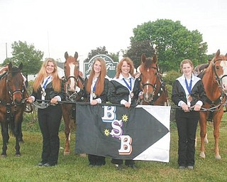 The Boot Scootin' Buckeyes, a Trumbull County 4-H equine drill team, recently competed at the USEDA international competitions in Alexandria, Ky. From left to right are Amanda Accordino, Alexis Accordino, Jennifer Corley and Kendra Garlock. Absent from the photo are Mackenzie Evan and Cierra Gabrielson. The group will compete at the 4-H Nationals in November.