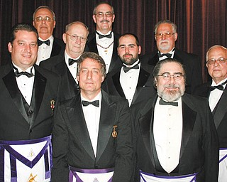 The York Rite Bodies of Youngstown recently installed officers. Front row, from left to right, are Dominic M. Lucarelli, Timothy N. Flack and Robert K. Ellway. Middle row, left to right, are Raymond H. Huish Jr., R. Patrick Anderson and James A. Streeky. In the back row are Robert L. Rodkey, left, Richard J. Brady and Salvadore A. Canale.