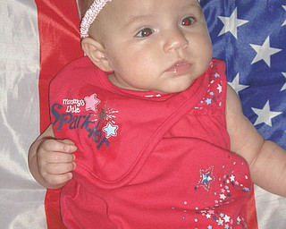"This photo came from Richard Frondorf, captioned as a ""picture of my 4-month-old daughter [Gabriella Frondorf]."" It was taken in 2011 on her first July 4th."