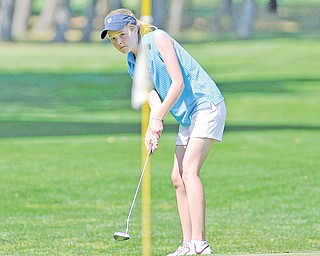 Nadya Stratton of Boardman tries to make a putt on the 16th hole at a Greatest Junior Golfer of the Valley qualifier on June 9 at Mohawk Trails in New Castle. Diamond Backs will host the girls in another qualifier this morning.