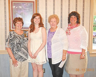 The Tri-Gold Chapter of the American Business Women's Association met June 13 at A La Cart Catering in Canfield and awarded scholarships to Cassandra Clyde of Struthers, who is a senior forensic science major at Mercyhurst College in Erie., Pa., and to Dena Tufaro of Liberty, who is a sophomore at Slippery Rock University majoring in therapeutic recreation. From left to right are Sharon Pasquale, president of Tri-Gold Chapter; Clyde; Sarah Janutolo, the chapter's professional development chairwoman; and Mary Clyde, mother of Cassandra Clyde. Tufaro is absent from the picture.