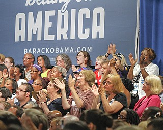 MADELYN P. HASTINGS | THE VINDICATOR..Supporters of President Barack Obama cheer during his speech in  Poland, Ohio on July 6, 2012. .. - -30-..