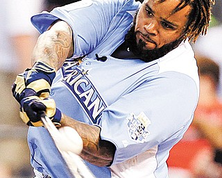 American League's Prince Fielder, of the Detroit Tigers, hits during the second round of the MLB All-Star Home Run Derby. Fielder won the derby Monday.