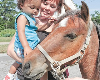 Jason Thomas, 1, and his mother, Tasha Thomas, both of Girard, pet Cheyenne before Jason rode her. The Girard Free Library has a summer reading program that includes story time for those too young to read.
