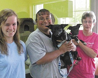 The Humane Society of Columbiana County plans to celebrate summer with a Pet Lovers Ice Cream Social from 11 a.m. to 3 p.m. Thursday, Friday and Saturday at Bo's Pet Shoppe, 14883 South Ave., Columbiana. Pets are welcome along with their owners to participate in contests, sales and giveaways. Raffle tickets will be given to those to take shelter supplies such as clay kitty litter, laundry detergent, latex gloves, towels or bedding, garbage bags and gift cards. Posing with Pets Photography will be on hand from 11 a.m. to 2 p.m. Friday and Saturday to photograph you and your pet for a nominal fee. Blackwood and Best Breed Pet Food representatives will answer questions about pet nutrition. Ohio Pet Foods of Lisbon, produces both brands. The Humane Society will have adoptable pets and T-shirts available. All proceeds will benefit the Humane Society of Columbiana County. For information call Bo's at 330-482-1003 or HSCC at 330-332-2600. From left to right are Megan Douglas, a staff member at Bo's; Stephanie Peterson, an HSCC humane agent; Pip, a Humane Society alumnus; and Mary Algaier, the owner of Bo's, with Lacey, who is up for adoption.
