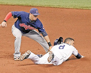 Tampa Bay Rays' Desmond Jennings, right, slides in safely with a steal of second base ahead of the tag by Cleveland Indians shortstop Asdrubal Cabrera during the sixth inning of a game Tuesday in St. Petersburg, Fla.