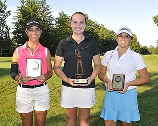 Champ Rosy Hearns, Hickory, is joined by Christina Cooper, Canfield, and Gina DePasquale, Hubbard, as finalists for the U17 Girls division. They were playing in the 2012 Greatest Golfer of the Valley junior finals Saturday at Trumbull Country Club. Adult finals are Aug. 24, 25 & 26.