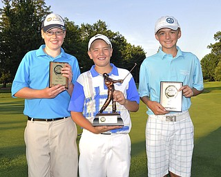 Champ Brian Terlesky, Boardman, is joined by Ken Keller, Boardman, and Zach Jacobson, Poland, for the U14 Boys finalists. 