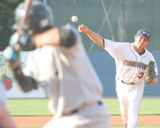 Mahoning Valley Scrappers pitcher Jacob Lee delivers during Wednesday's New York-Penn League game against the Staten Island Yankees at Eastwood Field. The Yankees downed the Scrappers, 8-2.