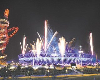 Fireworks explode over Olympic Stadium during a rehearsal for today's opening ceremonies for the 2012 Summer Olympics, where London hopes to wow the world.